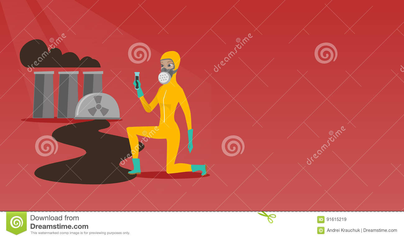 Laboratory Assistant With Test Tube Stock Vector Illustration Of Power Plant Equipment Layout Young Caucasian Scientist In Gas Mask And Radiation Protective Suit Holding A Black Liquid On The Background Nuclear
