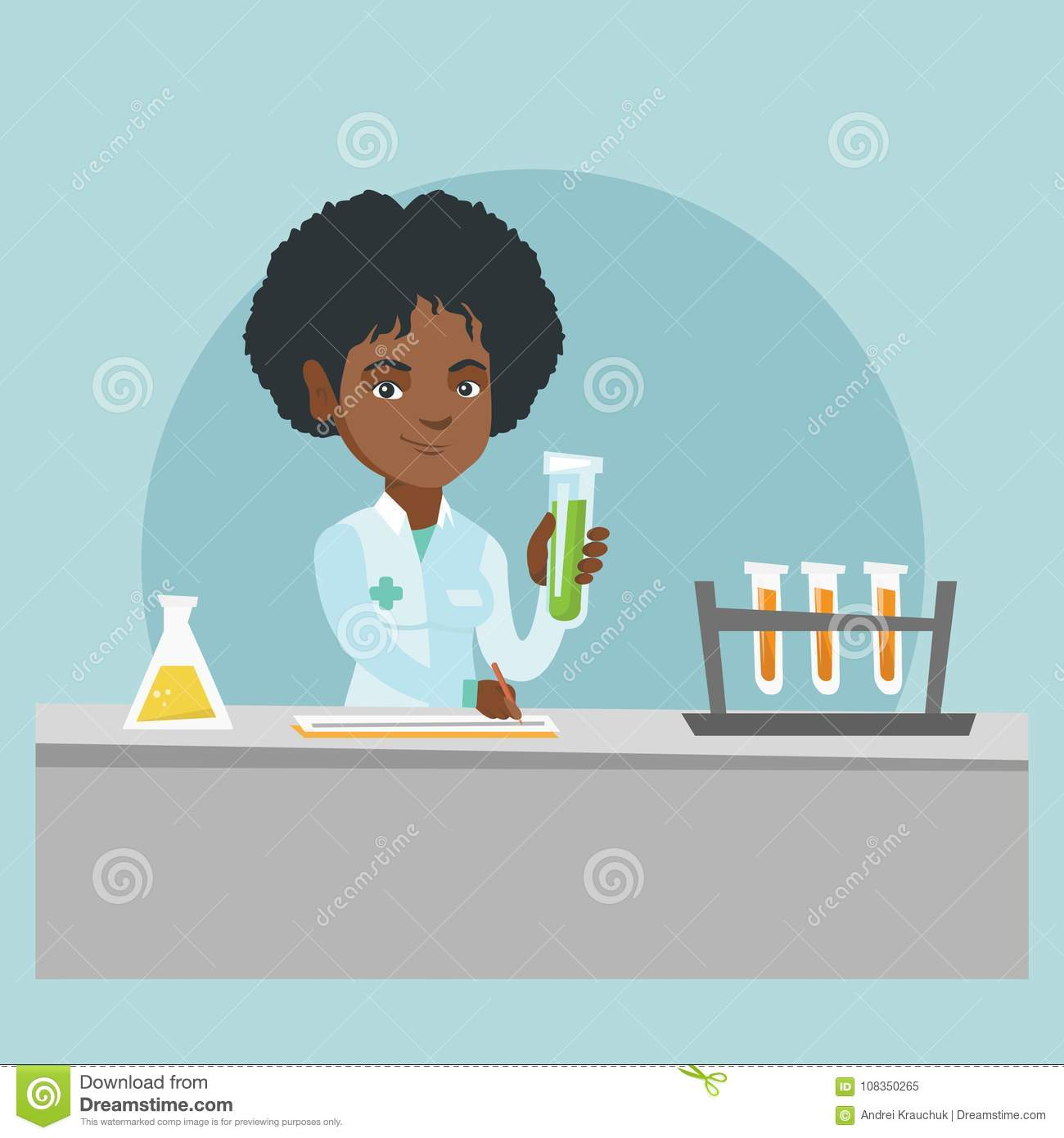 Young African American Laboratory Assistant Working With A Test Tube And Taking Some Notes Female Laboratory Assistant Analyzing Liquid In A Test Tube