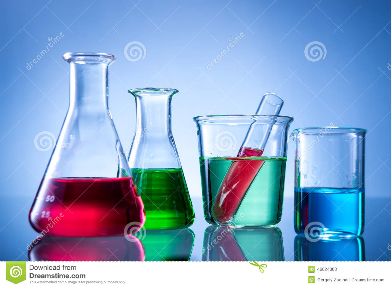 Laboratory Equipment Bottles Flasks With Color Liquid Stock Photo Image 46624303