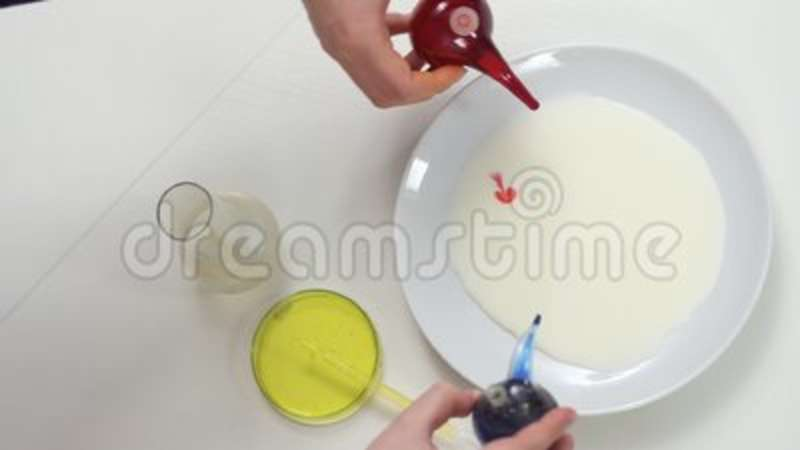 Laboratory Experiment With Milk And Paints Stock Video Video Of