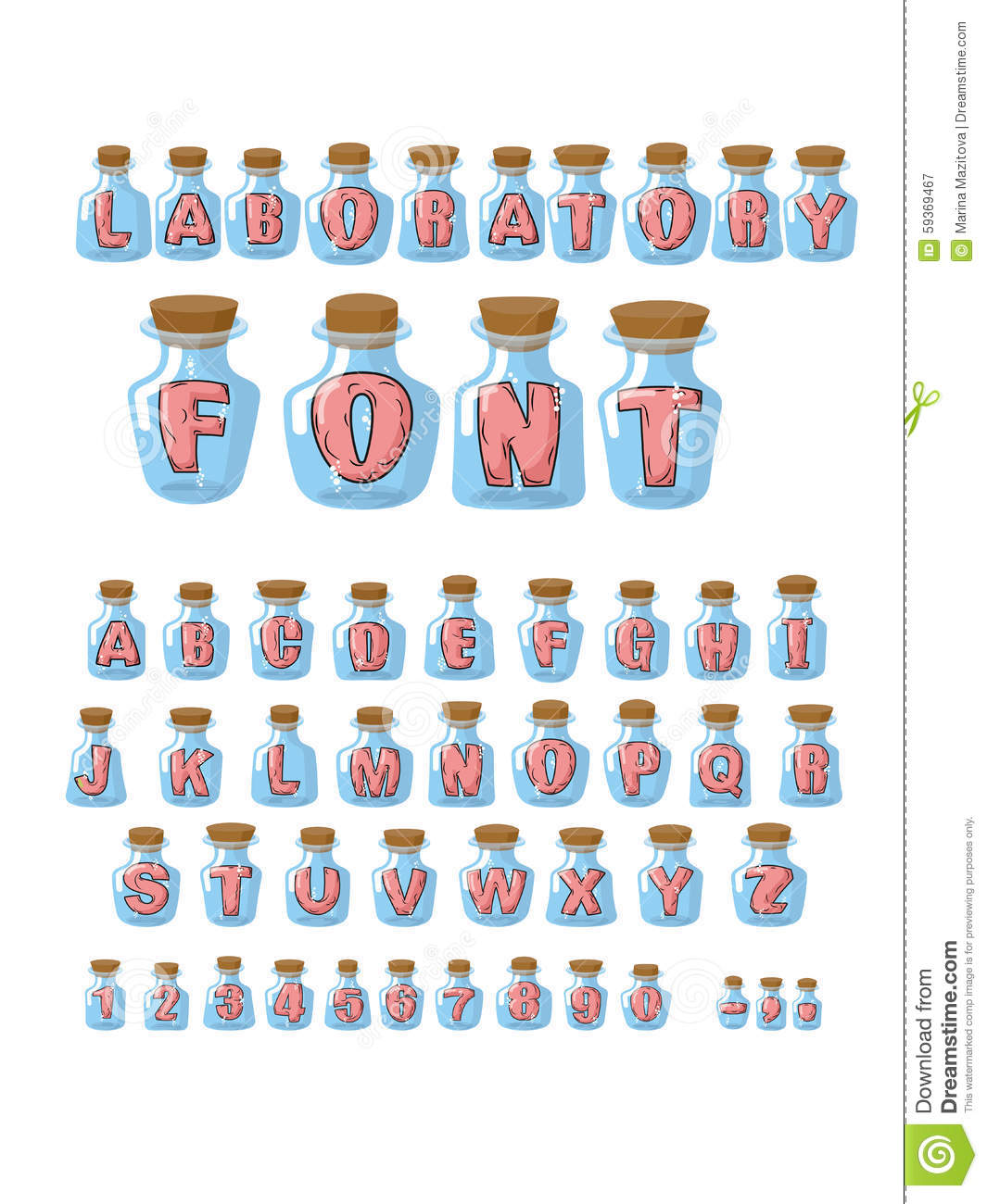 Laboratory Font Pink Live Letters In Glass Flasks A Alphanet Experiment 4 Parallel Circuit Alphabet Jar For Research Vector Hilarious Containers Experiments