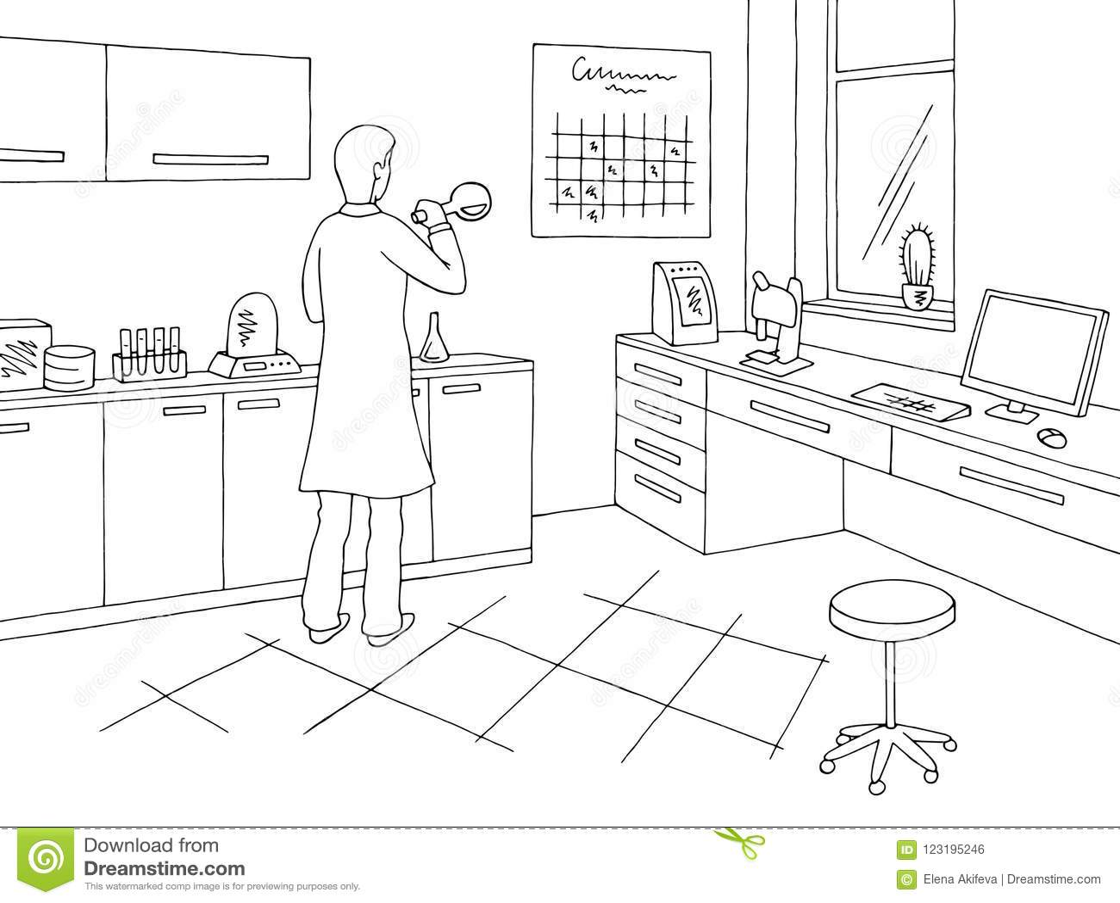 laboratory graphic black white interior sketch illustration vector