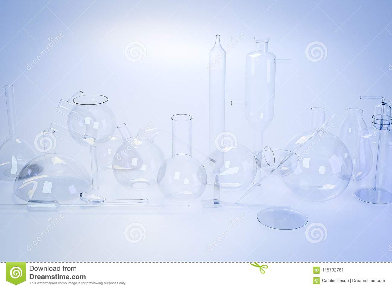 Laboratory Medical Glassware Of Chemistry Experiments Stock Image