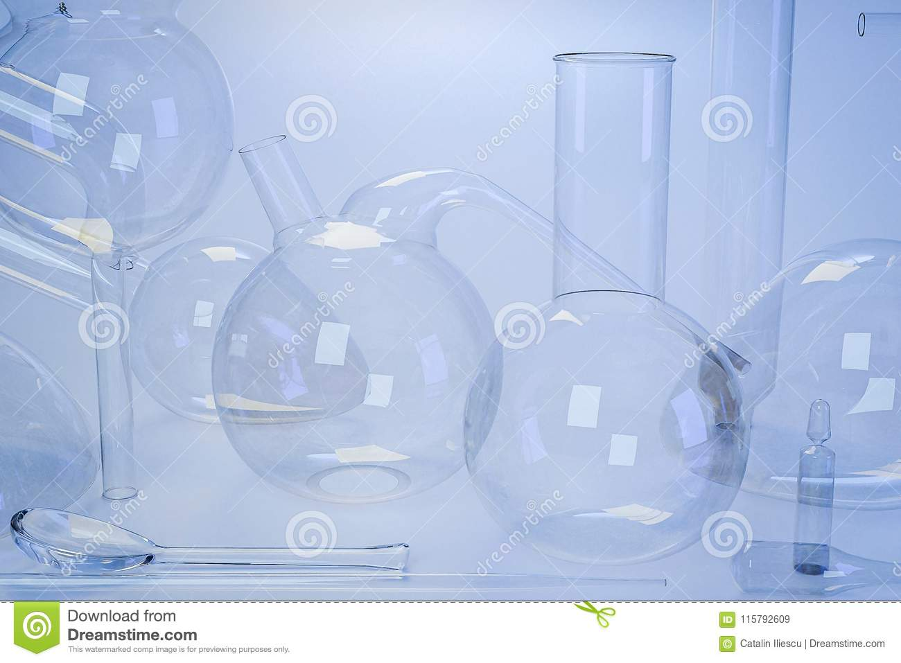 Laboratory Medical Glassware Of Chemistry Experiments Stock Image ...
