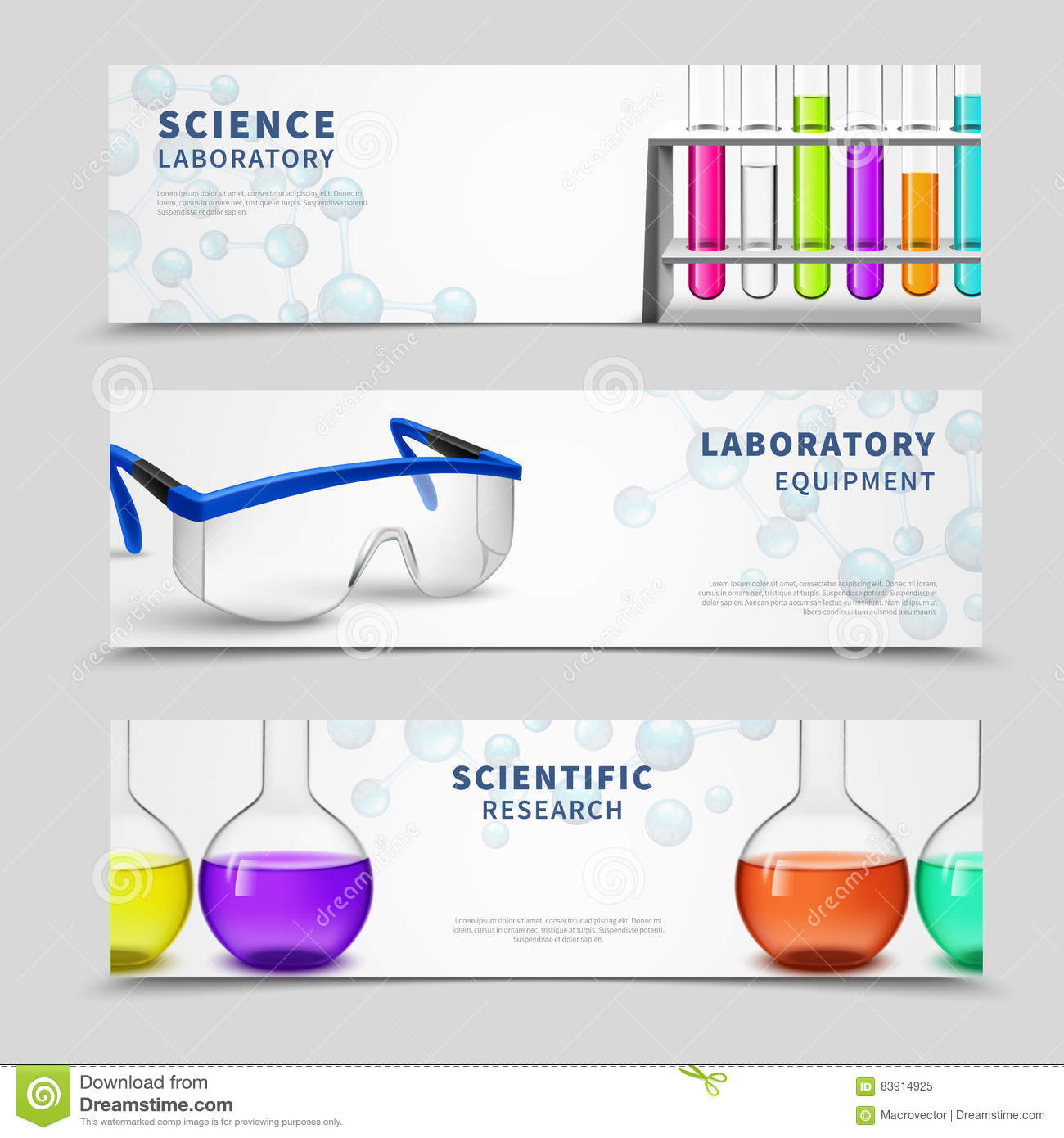 Laboratory science banners set stock vector illustration of laboratory science banners set buycottarizona