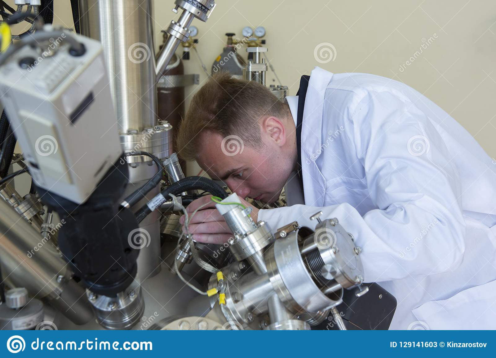 Laboratory equipment for scientific experiments. Abstract industrial background.