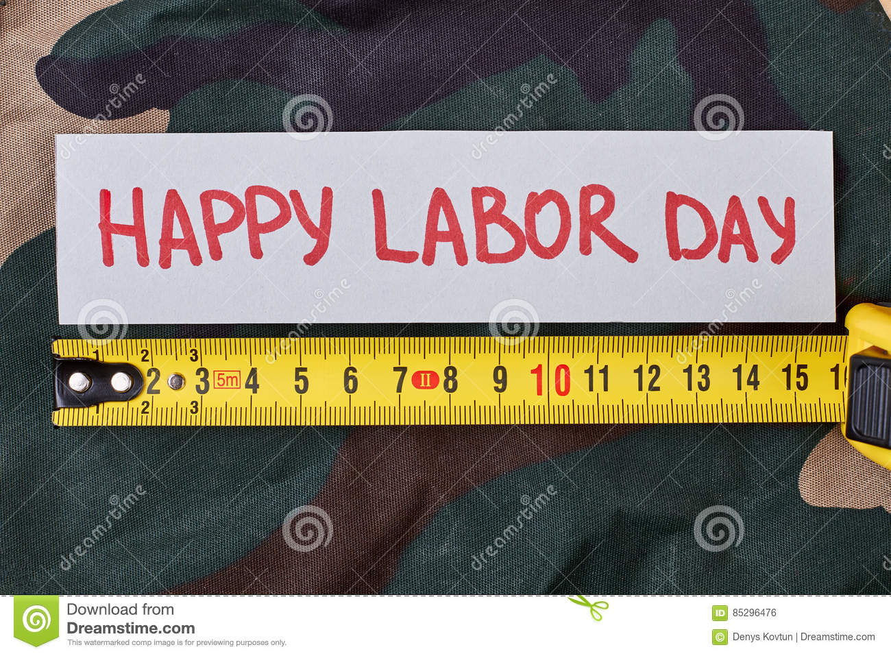 Labour Day card on camouflage.