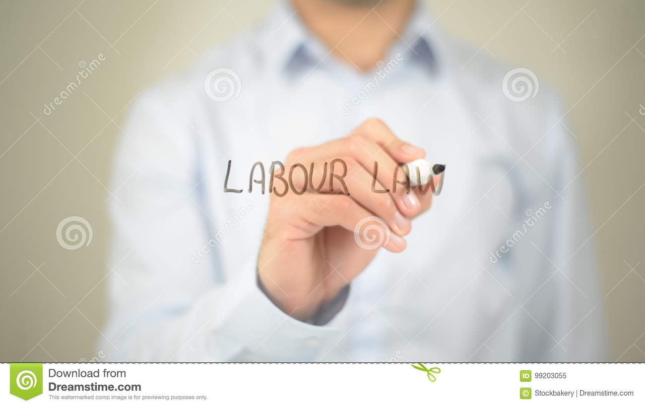 Labour Law, man writing on transparent screen