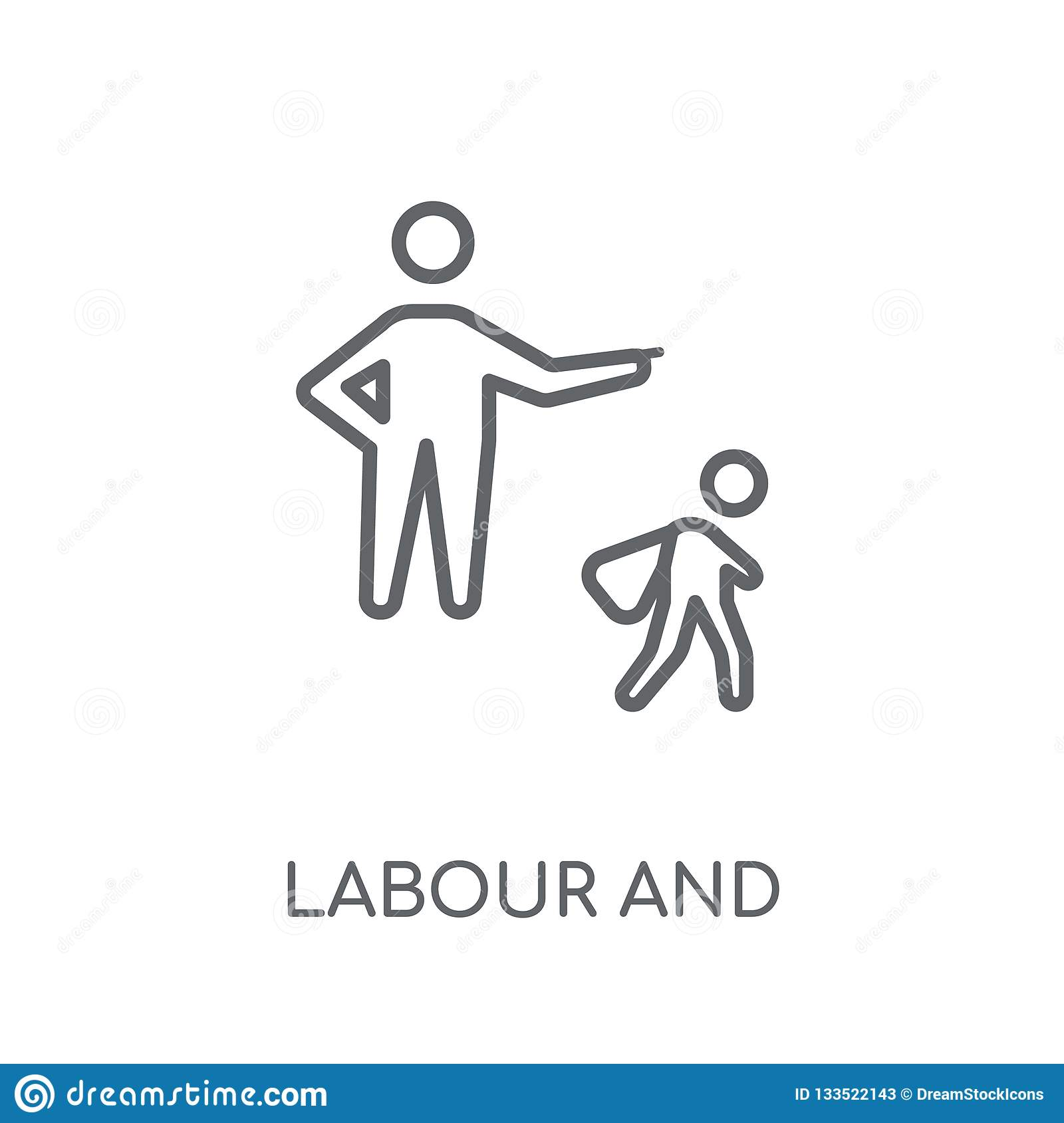 labour and social law linear icon. Modern outline labour and soc