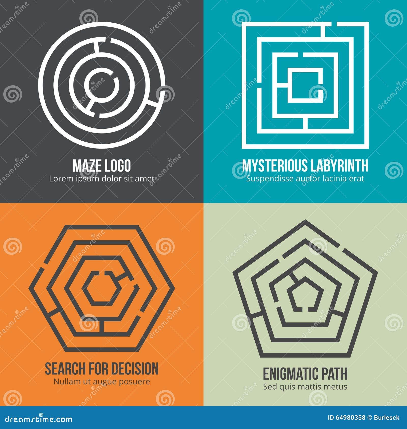 Labyrint, van het het embleemontwerp van de labyrintvorm de vectorreeks
