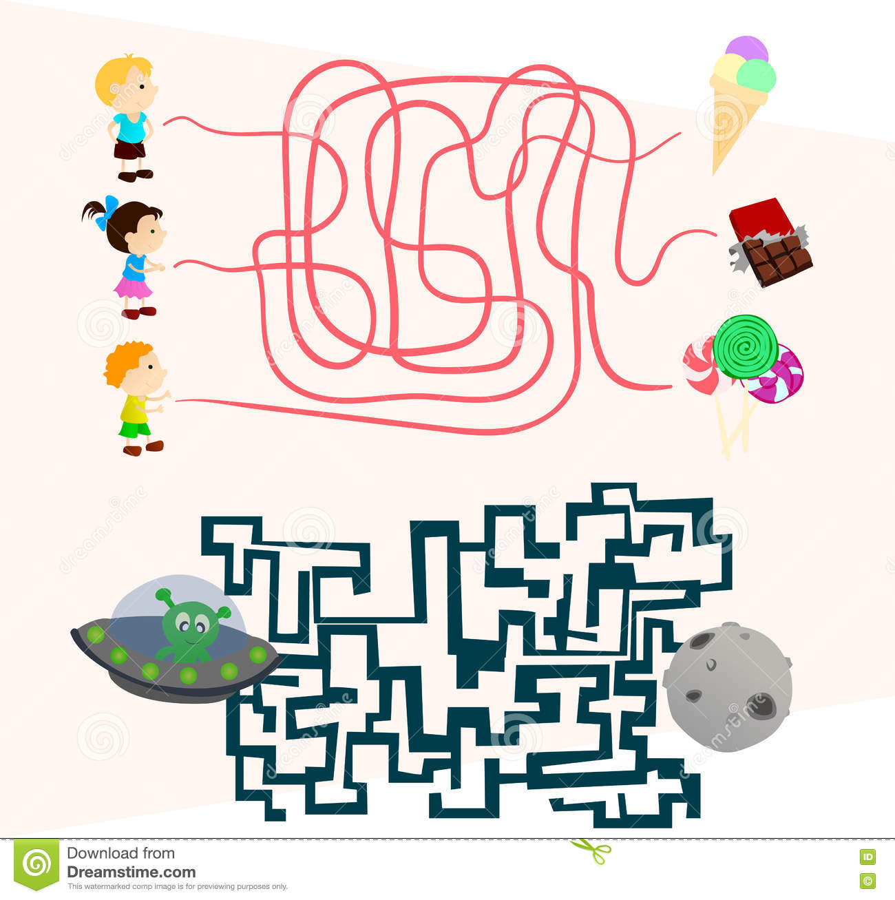 Labyrinth games set for preschoolers find the way