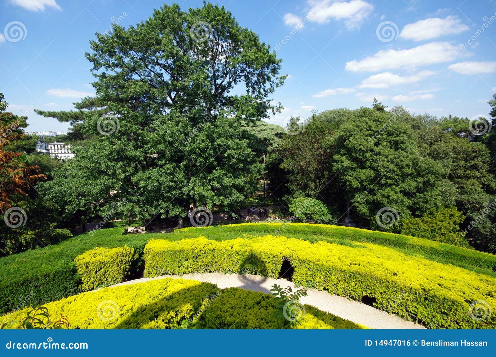 Labyrinth garden in jardin des plantes royalty free stock for Jardin plante