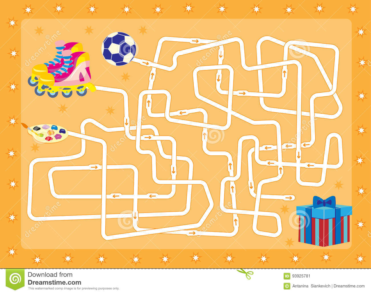Labyrinth.gift. Find That Is In The Box Stock Vector - Image: 93925781