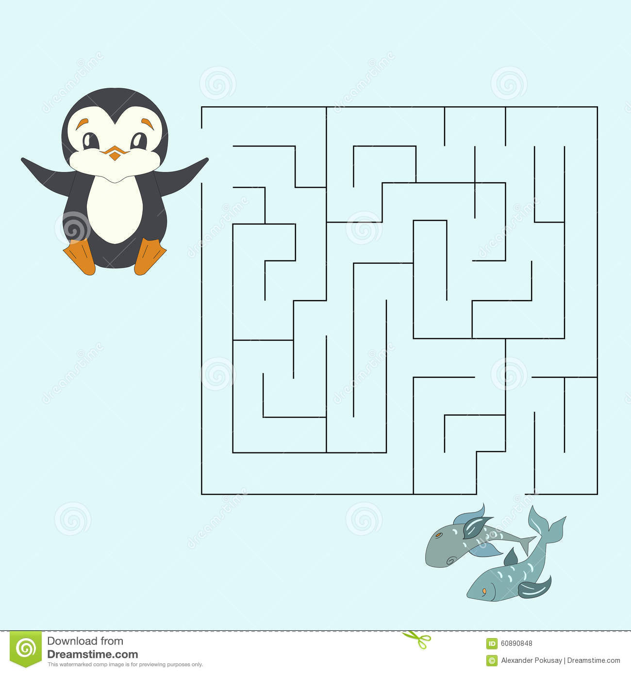 Labyrinth Maze Find A Way Kids Layout For Game Stock