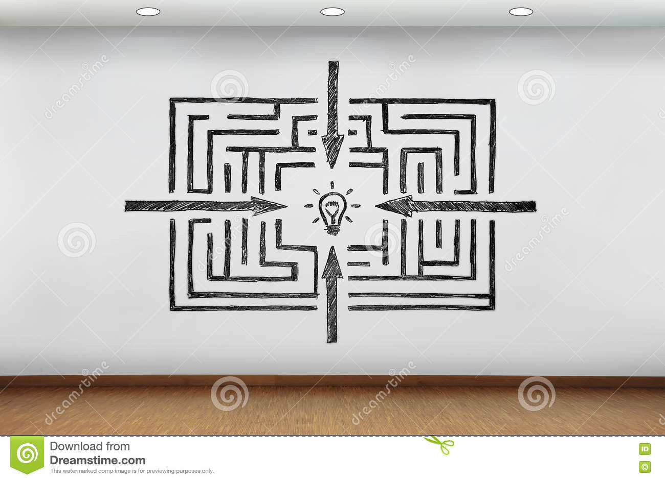 Labyrinthe au dessin de succ s sur le mur illustration for Dessin sur mur interieur