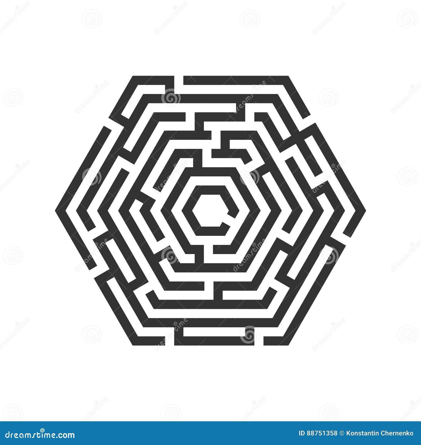 Labyrinthe d hexagone, icône de labyrinthe Concept d affaires
