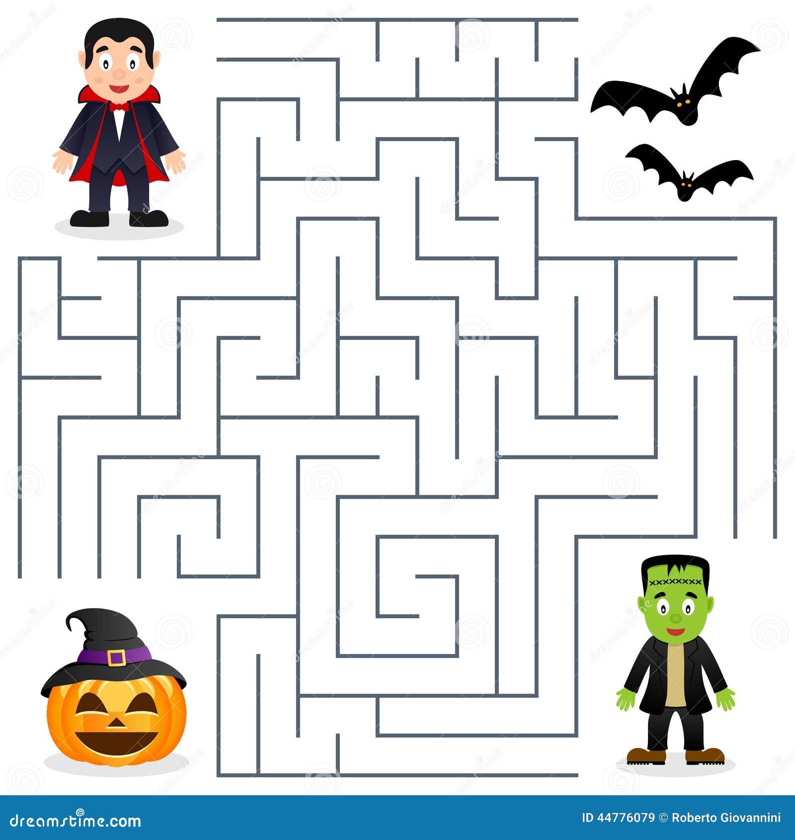 Labyrinthe De Halloween Dracula Et Frankenstein