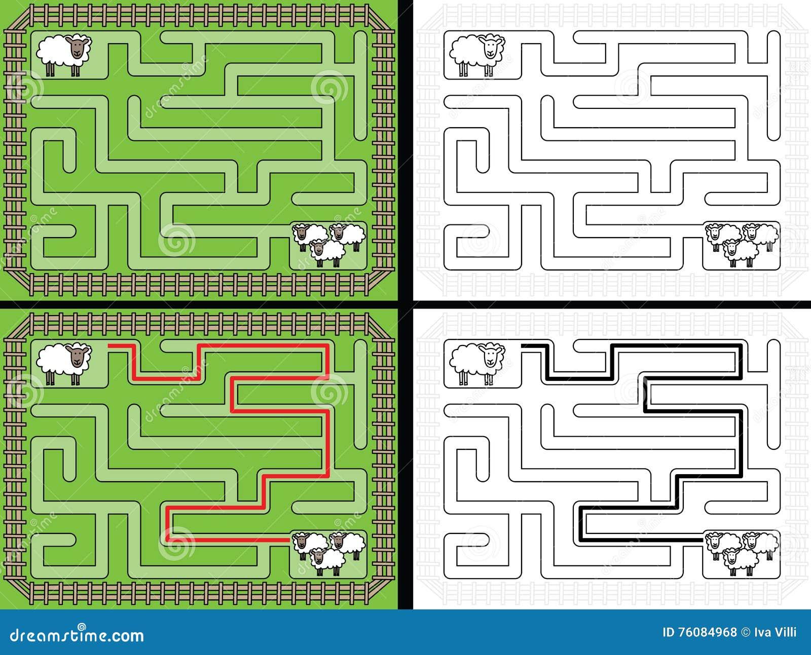Labyrinthe facile de moutons