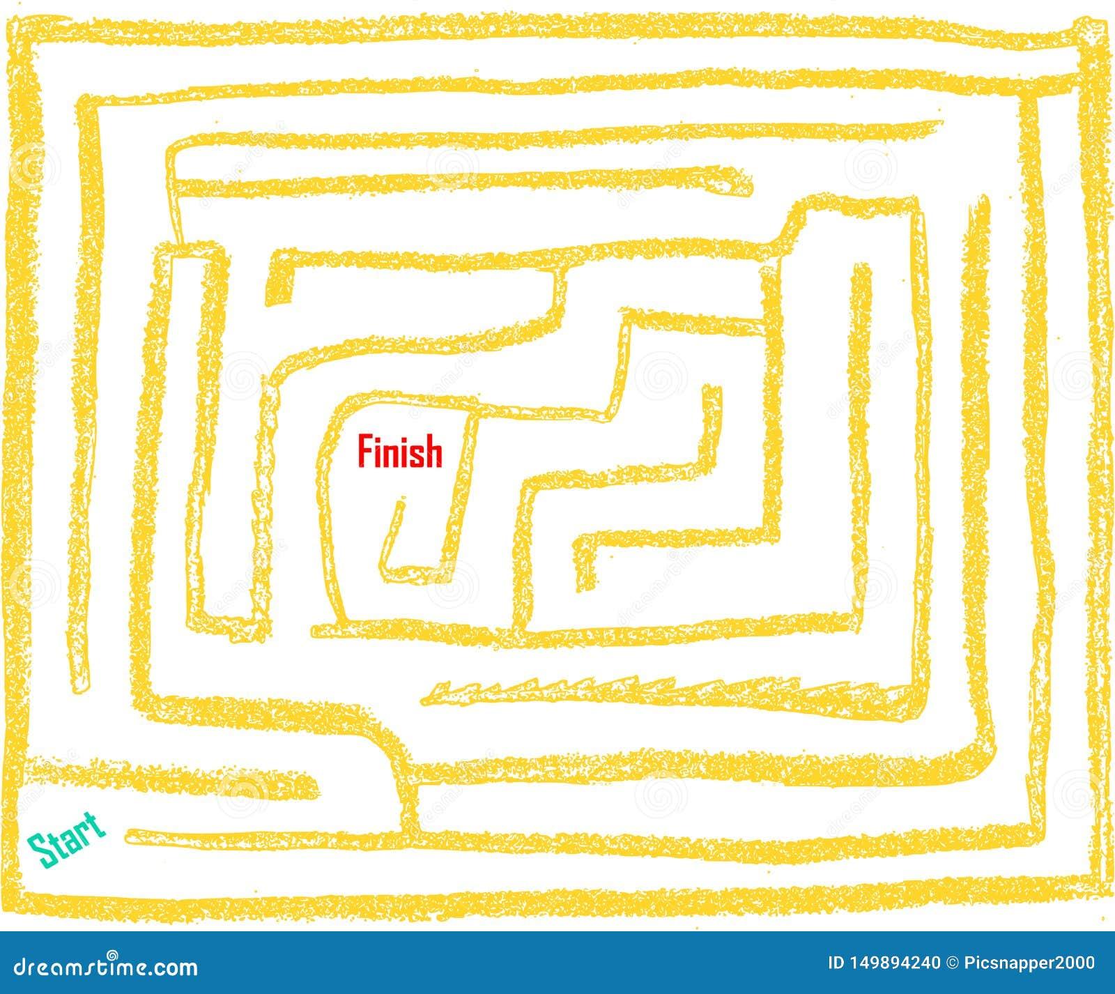 Labyrinthe tiré par la main numéro neuf, très facile, couleur de soleil-lueur