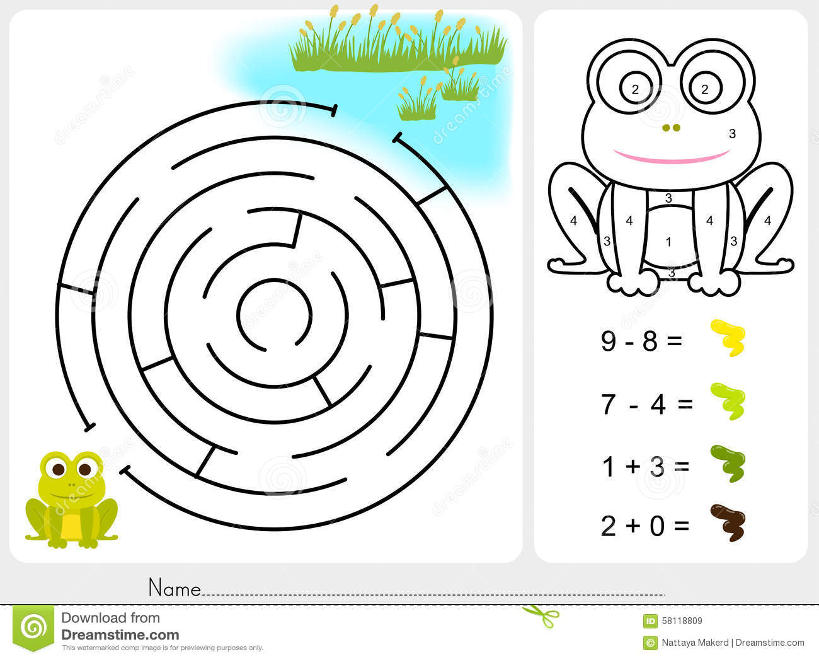 labyrinthspiel farbenfarbe durch zahlen arbeitsblatt f r bildung vektor abbildung. Black Bedroom Furniture Sets. Home Design Ideas