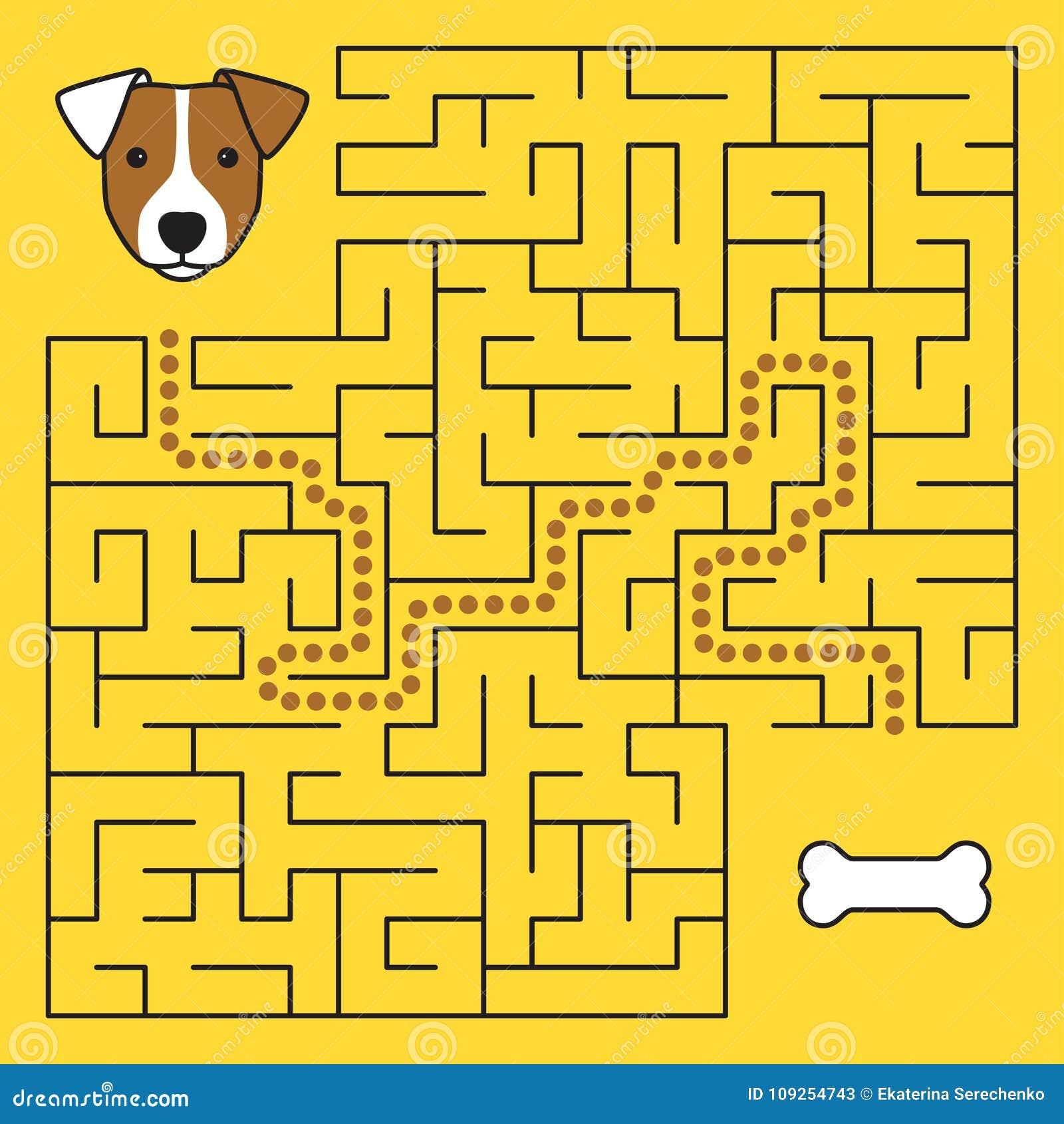 Labyrintlabyrintlek med lösningen Hjälphund