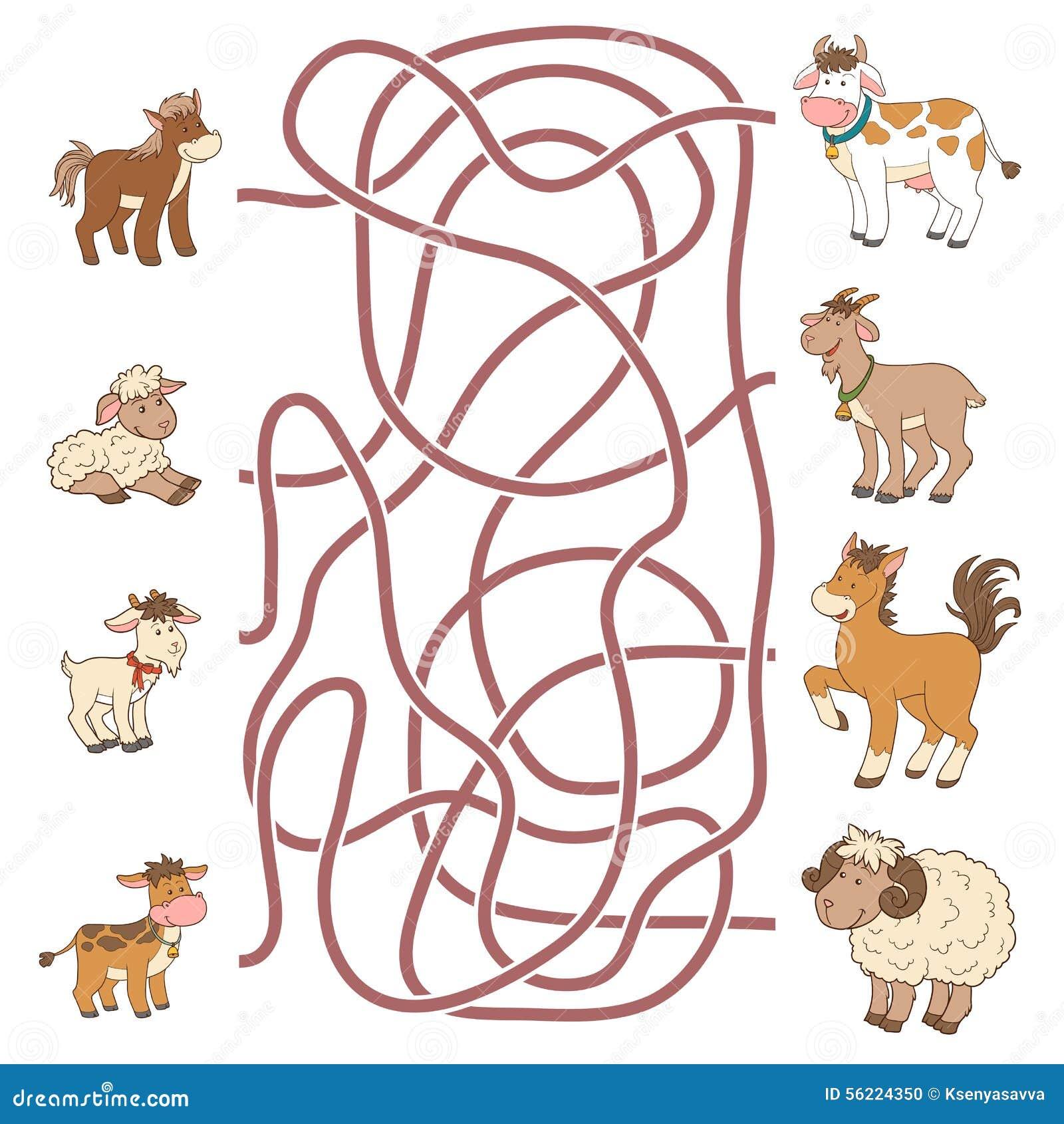 Labyrintspel: help de jongelui hun ouders (landbouwbedrijfdieren) vinden