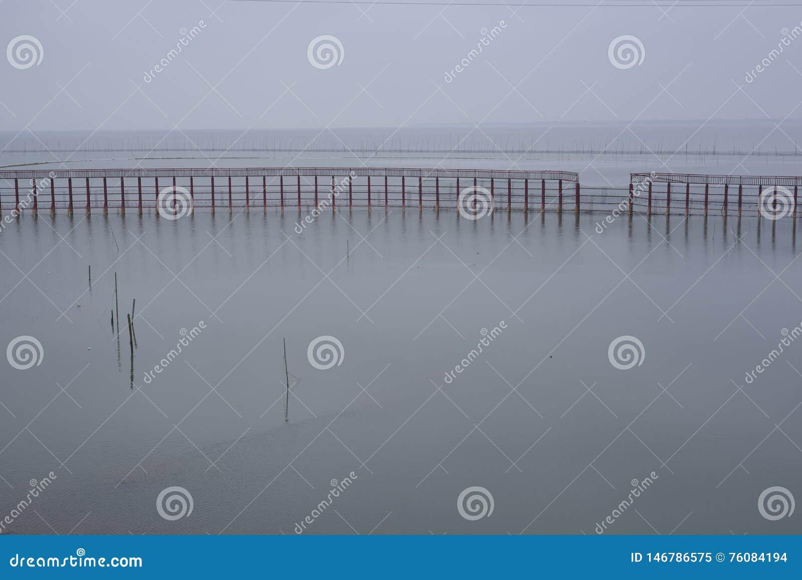 Lac calme, quelques barrières de l eau