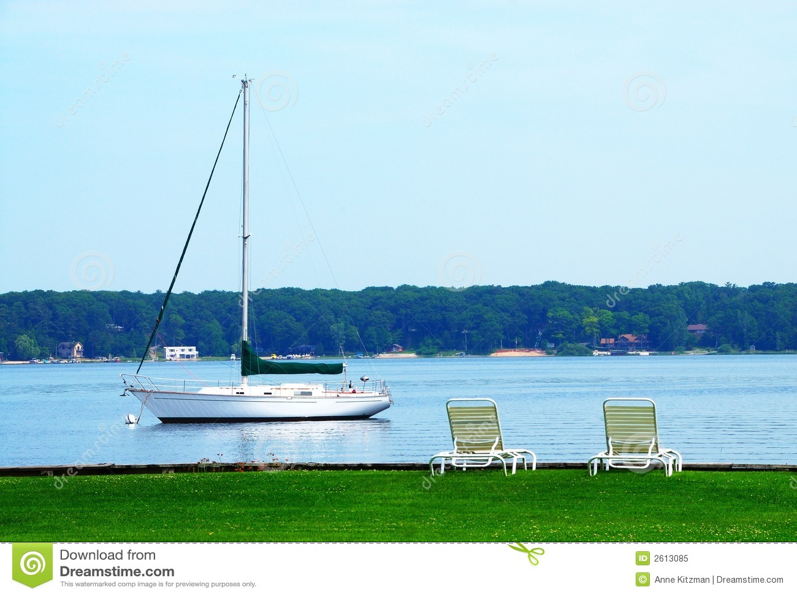 Lac Michigan blanc sailboat