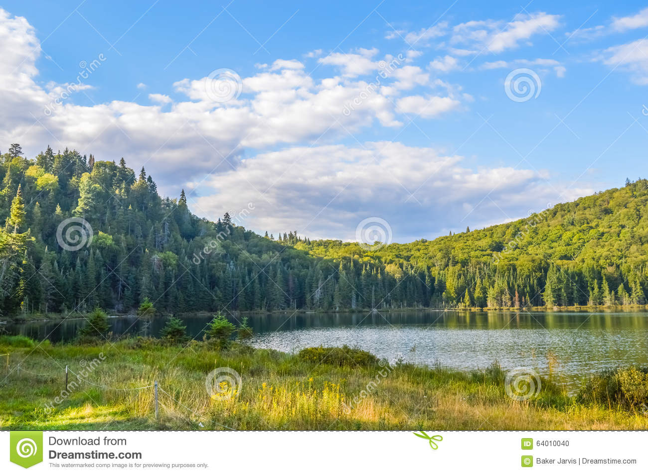 Lac in mont tremblant national park stock photo image for Lac miroir mont tremblant