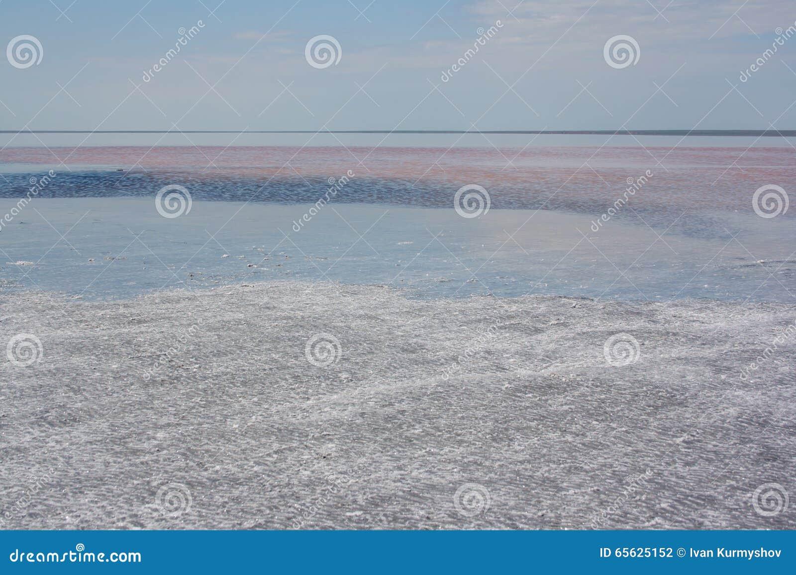 Lac salt Elton l eau salée à la journée