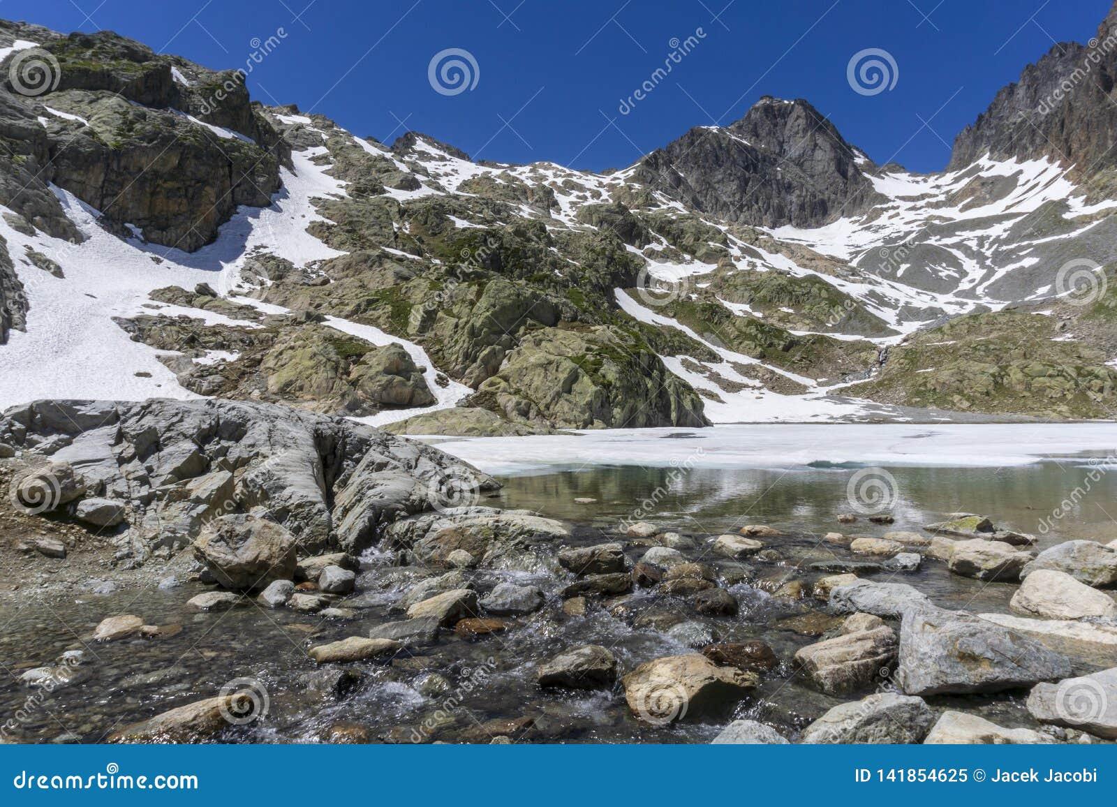 Laca Blanc del lago en el fondo del macizo de Mont Blanc montan@as