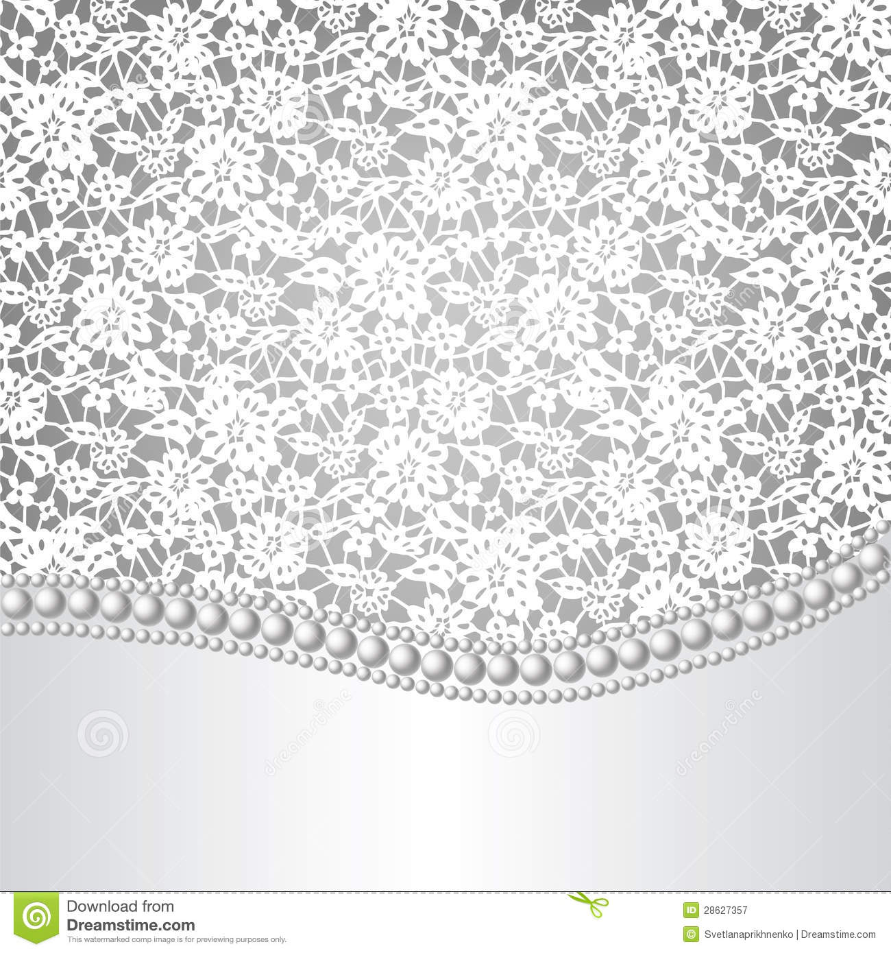 Template for wedding invitation or greeting card with lace background