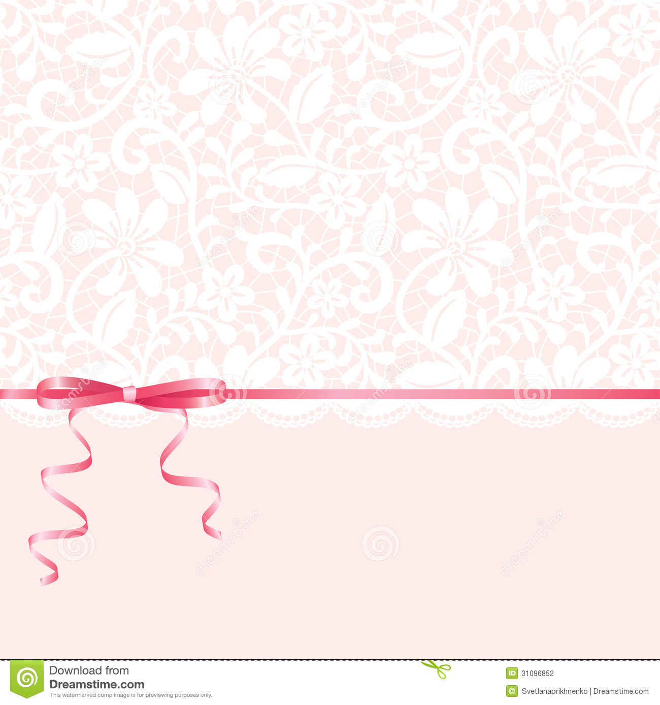 Lace Background And Pink Ribbon Stock Vector ...
