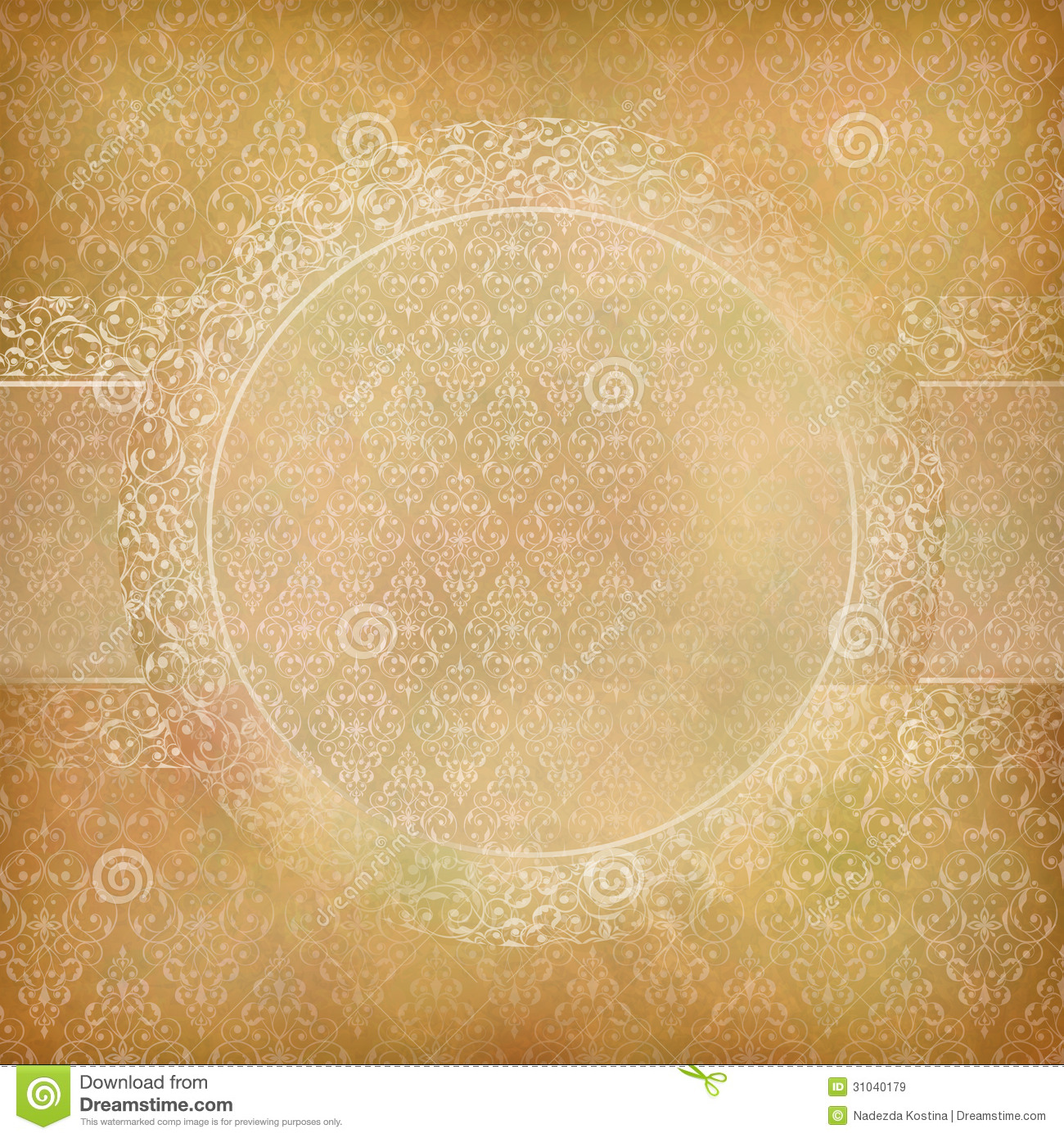 Lace Banner Card Abstract Vintage Background Stock Vector