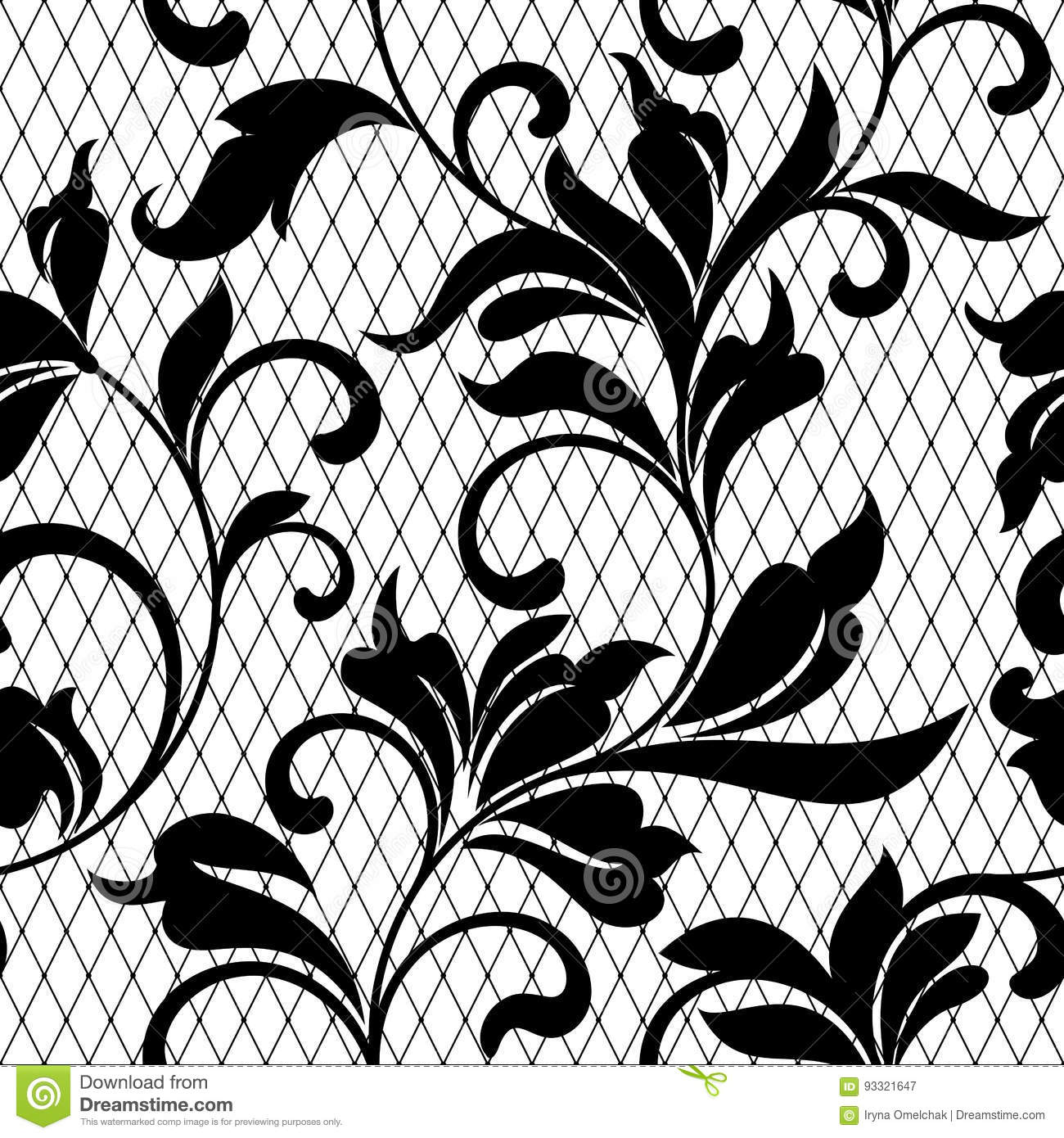 Lace Black Seamless Pattern With Flowers On White Backgroundlace Floral Background For Your Design Wallpapers Wrapping Pattern Stock Vector Illustration Of Backdrop Elegance 93321647