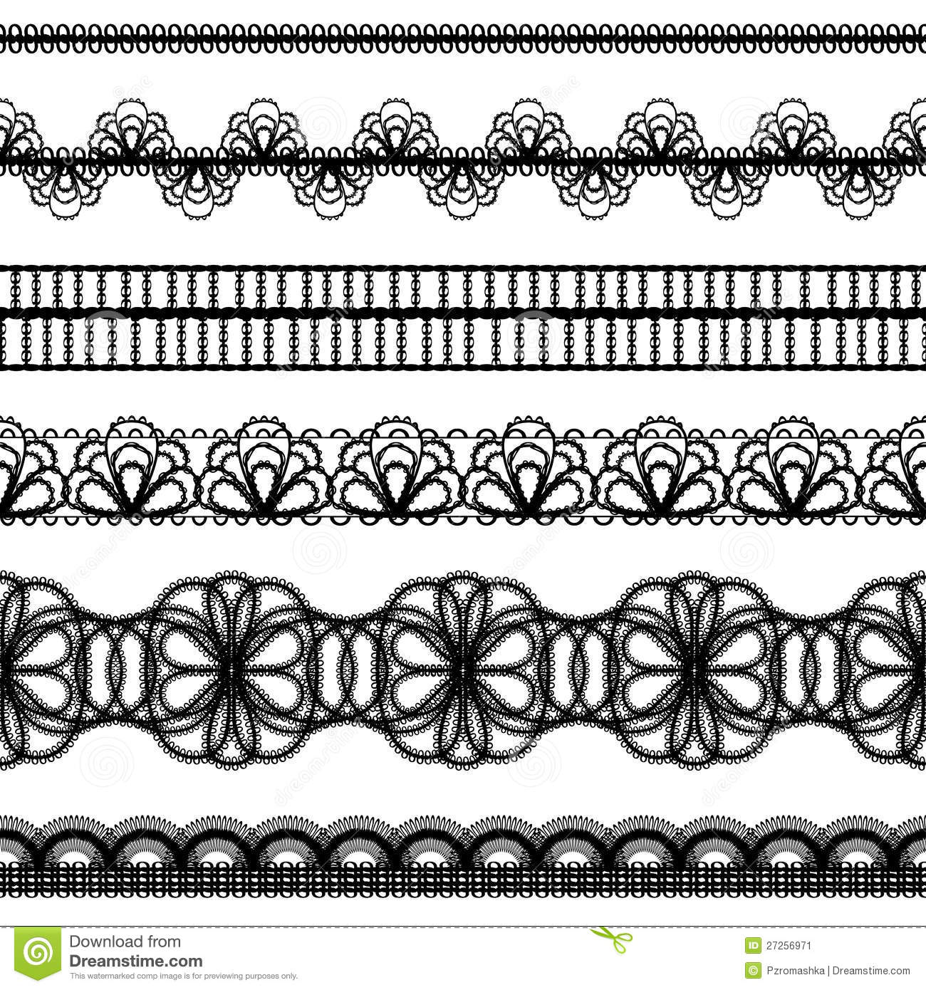Drawing Lines Band : Lace borders design elements stock vector illustration