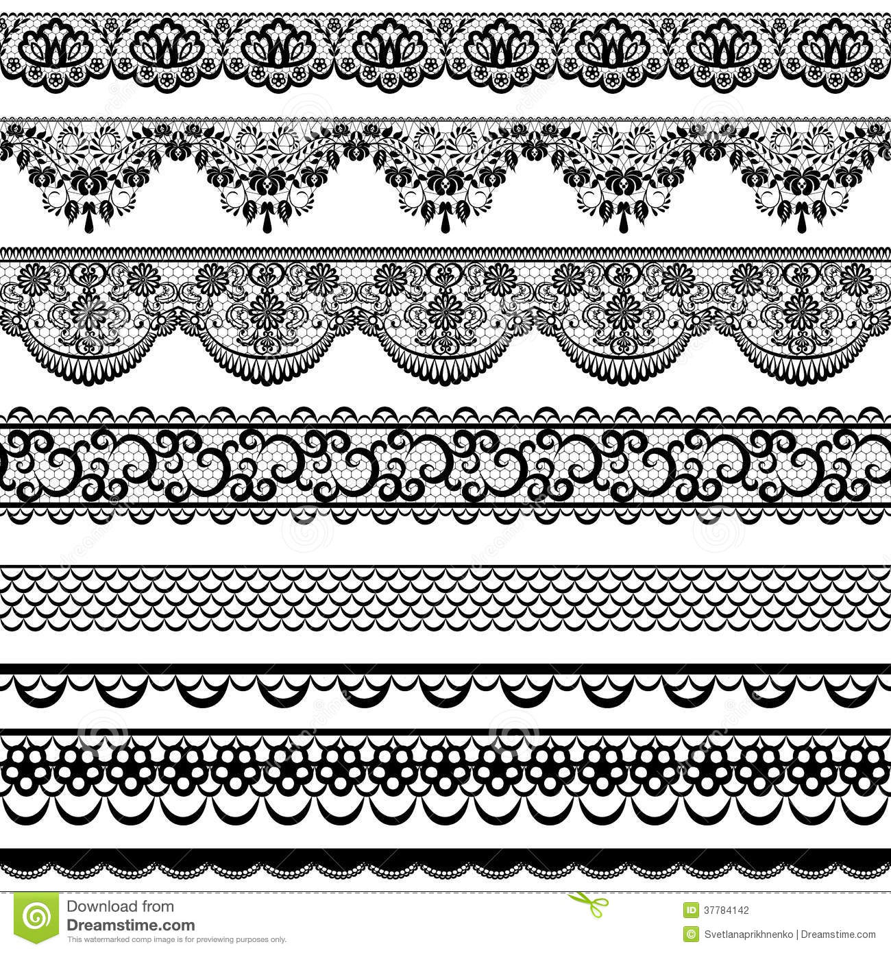 Lace Borders Stock Vector Illustration Of Flower