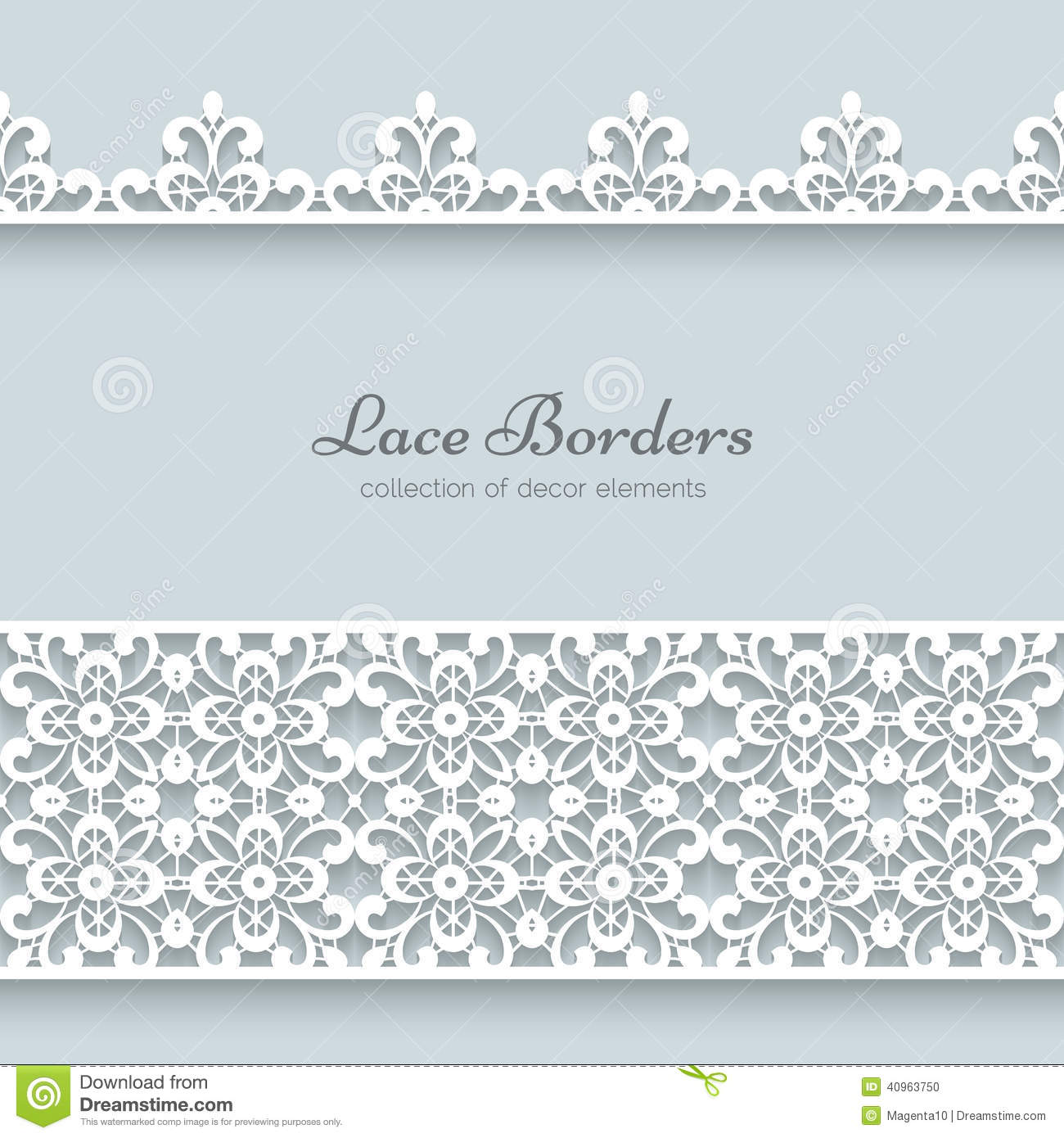 Lace borders with shadows, ornamental paper lines.