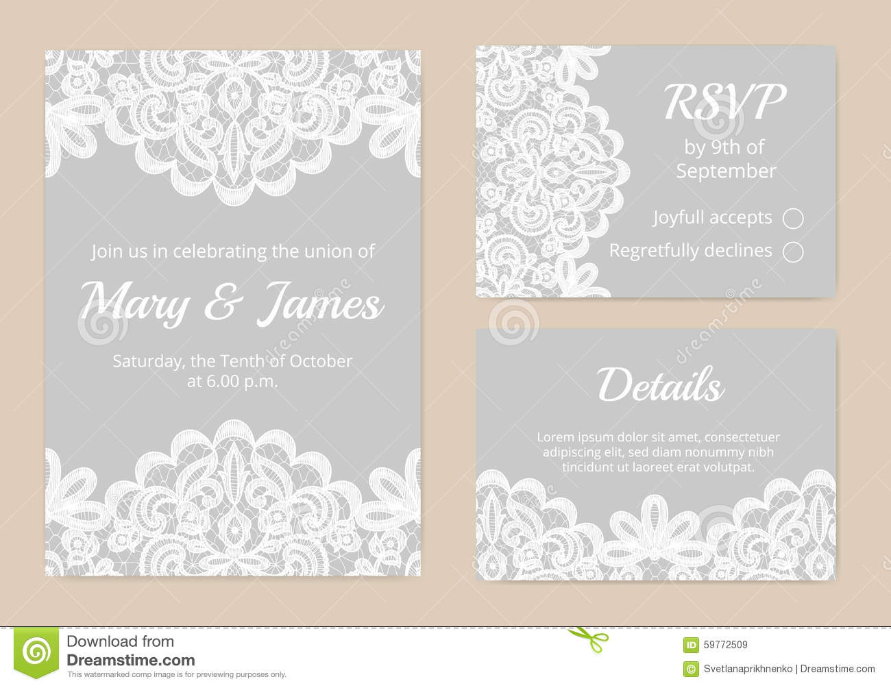 Lace cards for wedding stock vector. Illustration of event - 59772509