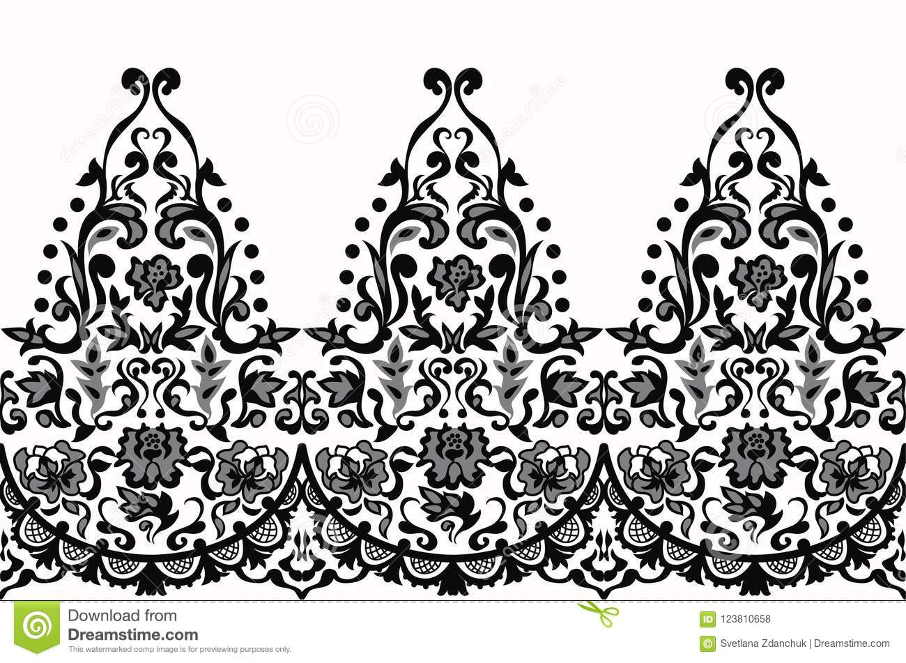 Lace Elegant Seamless Baroque Pattern Vector. Embroidery Design ...