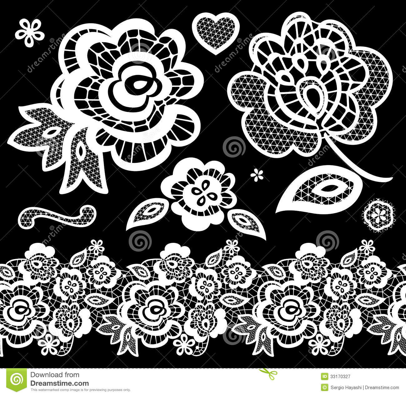 Lace Embroidery Design Elements Royalty Free Stock