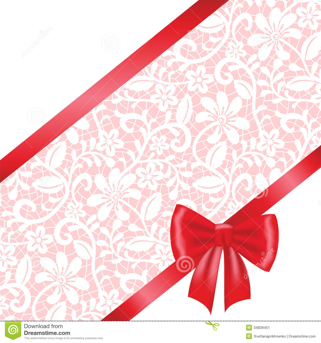 Lace Fabric Background With Ribbon Bow Stock Vector - Illustration ...
