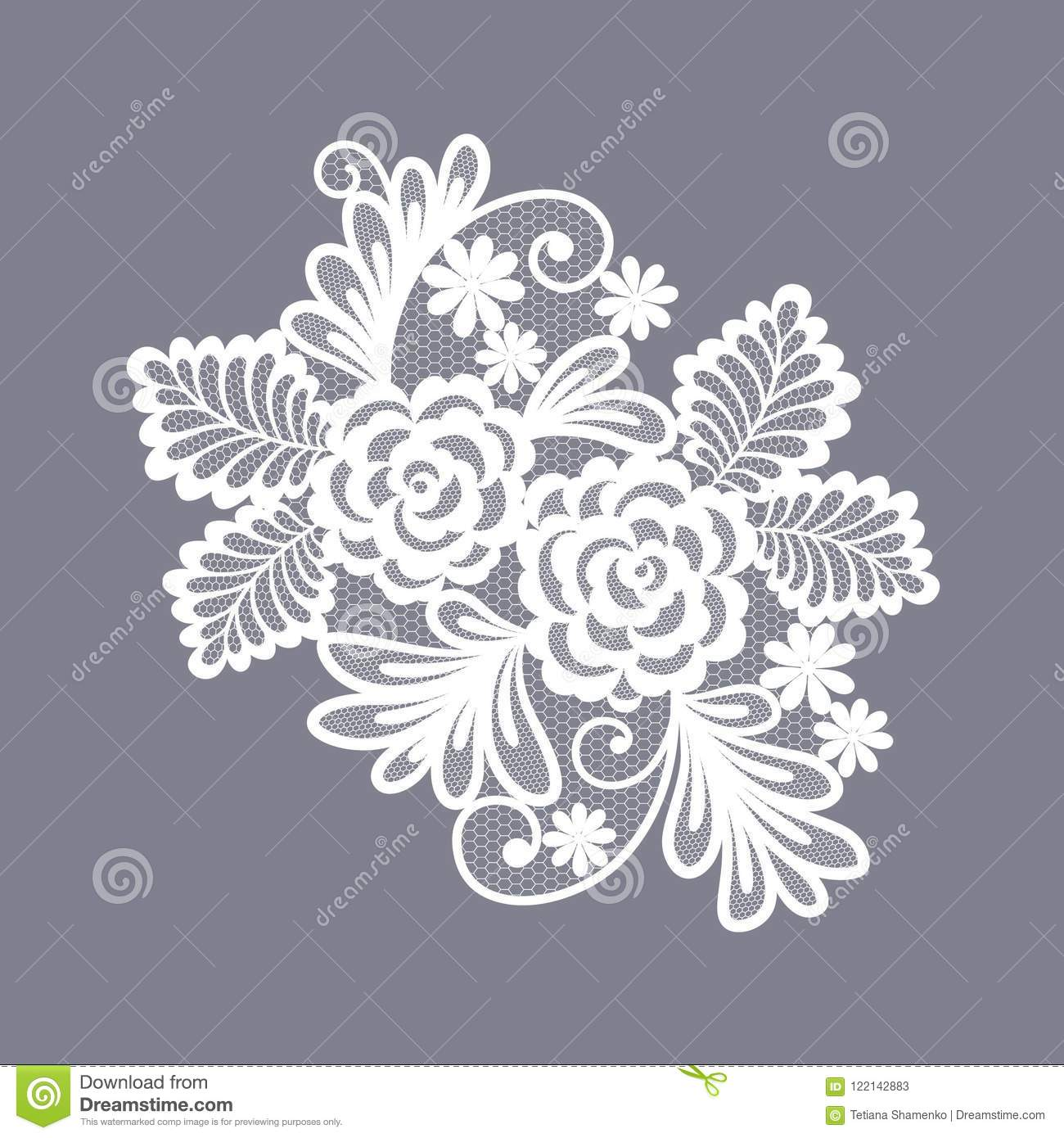 Lace Flowers Decoration Element Stock Vector Illustration Of