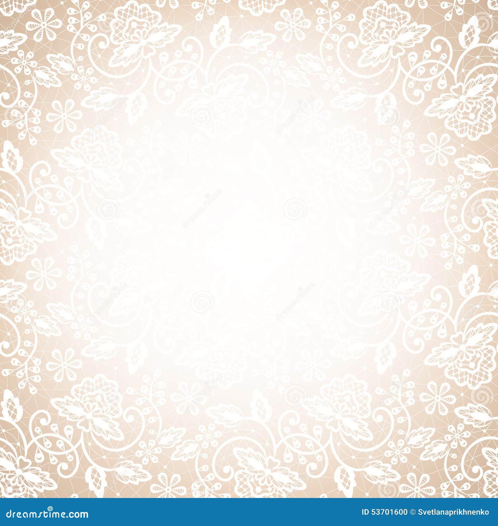 Lace Frame Beige Background Template Wedding Invitation Greeting Card White Logo Shabby Gratis