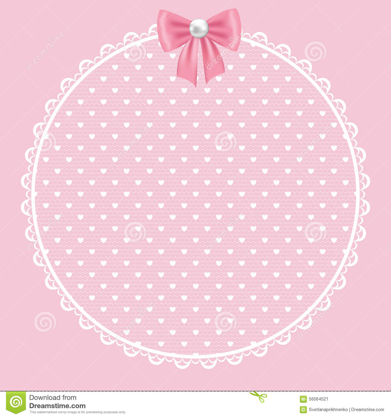Vector round frame with pink flowers on white background in pastel - Background Card Frame Invitation Lace Pink Wedding White Floral