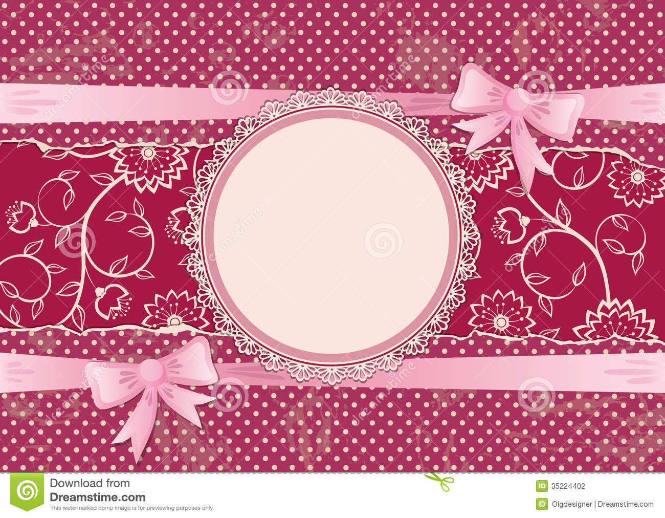 Lace Frame And Ribbons With Bows Stock Vector