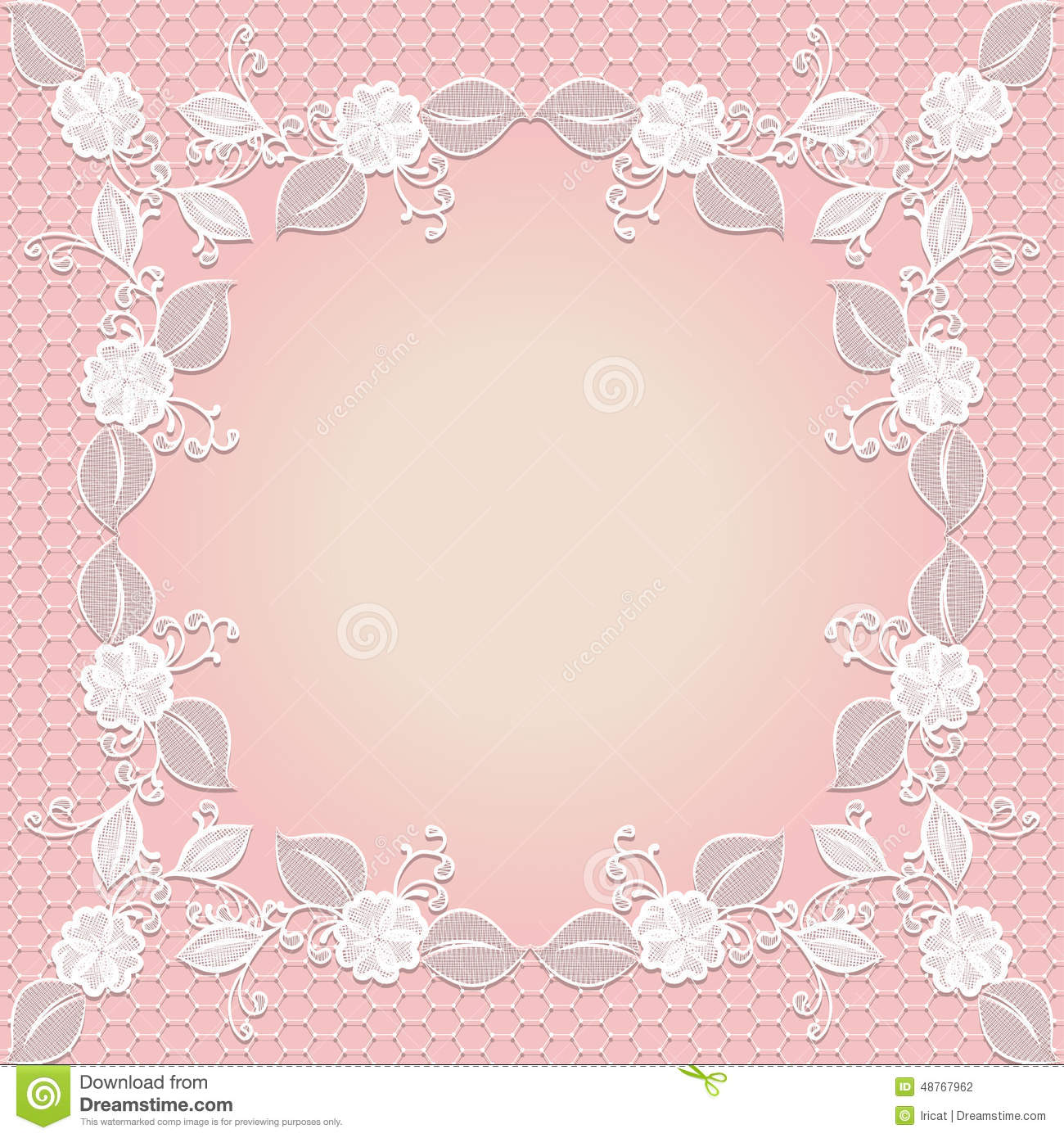 Lace Frame. Template Wedding Invitation. Stock Vector