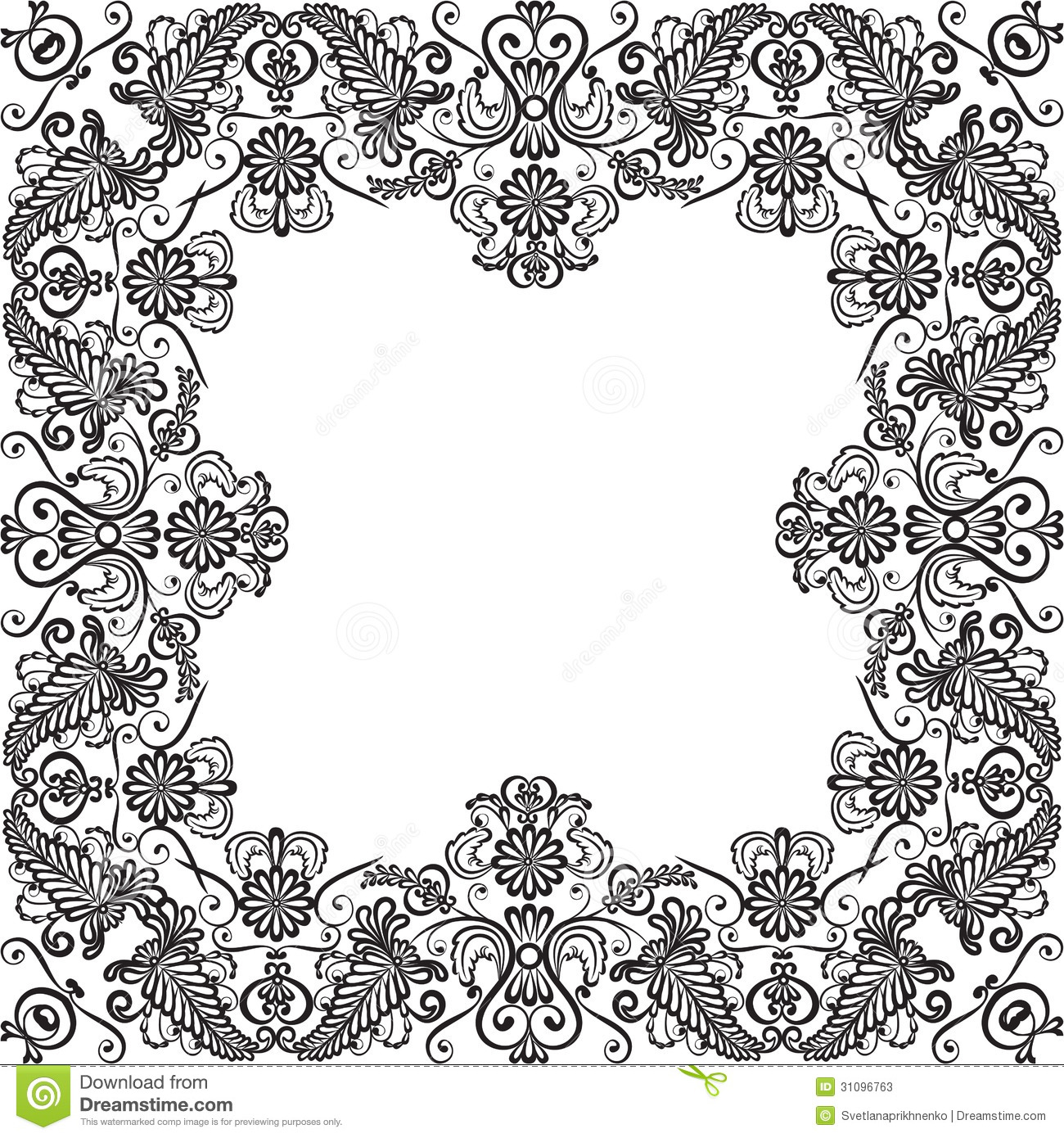 Wedding invitation or greeting card with lace floral frame.