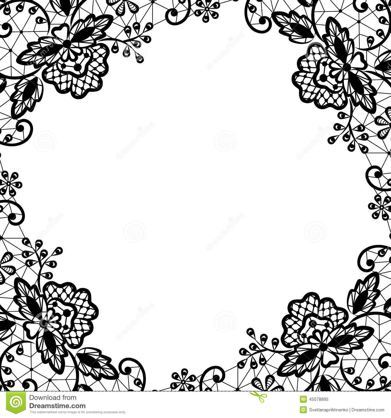 Lace frame on white background stock vector image 45078895 for Blanc design
