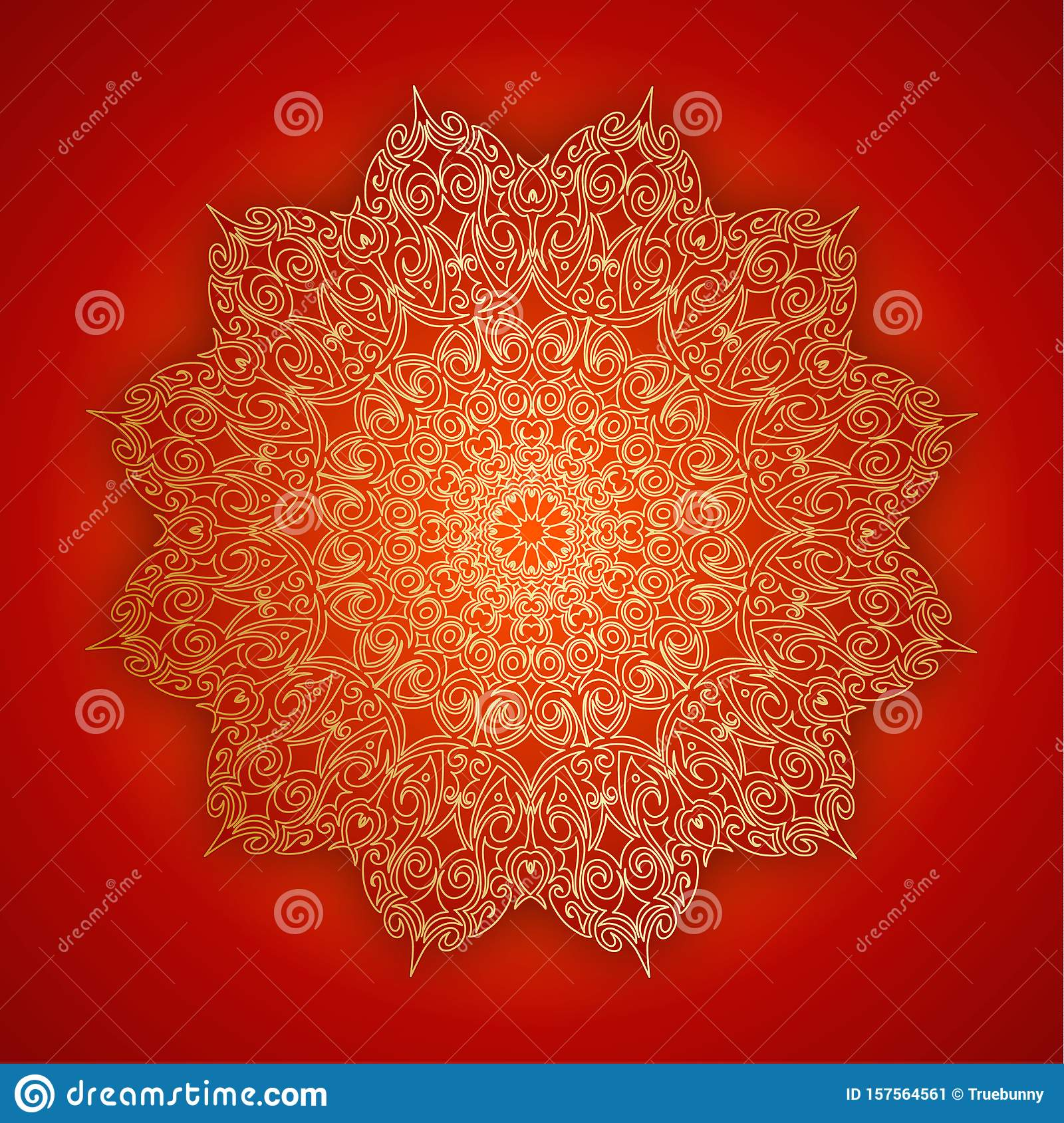 Lace gold mandala with shadow on red background. Vintage decorative elements. Islam, Indian, ottoman symbol. Oriental